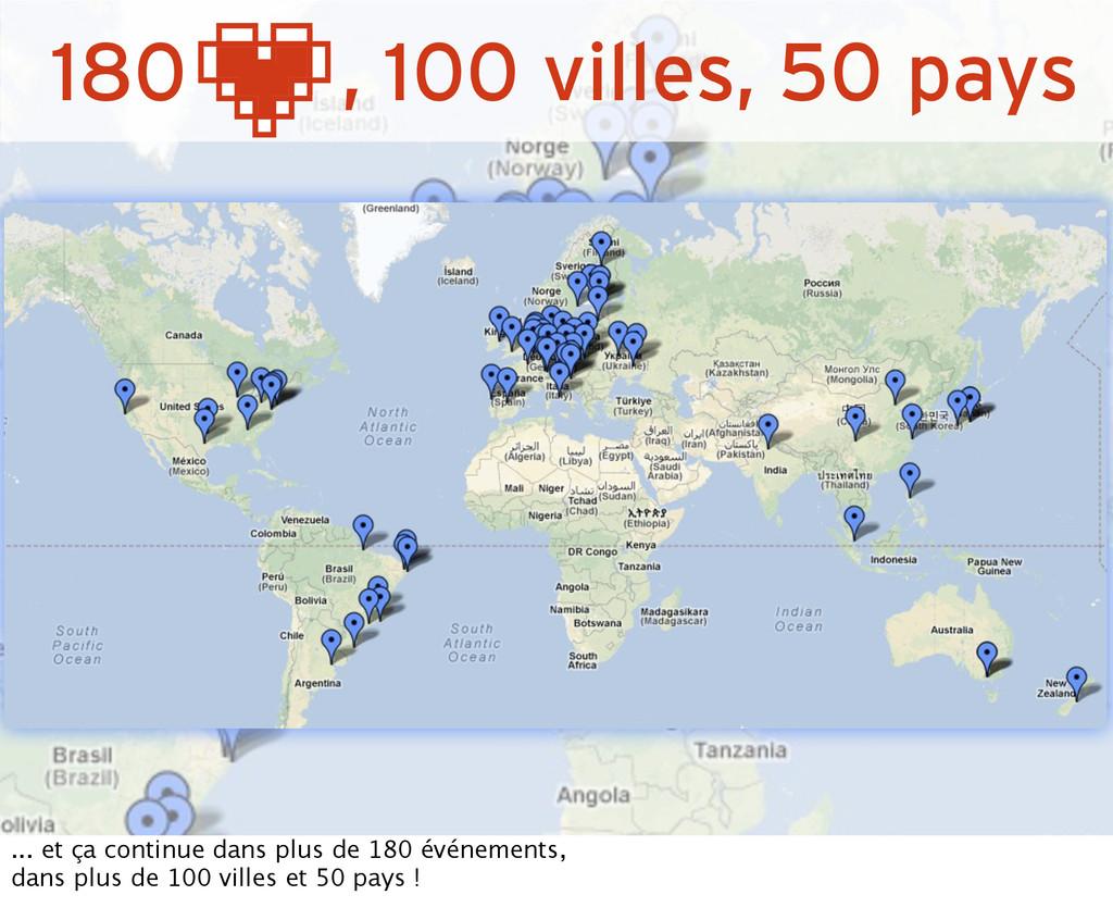 180 , 100 villes, 50 pays ... et ça continue da...