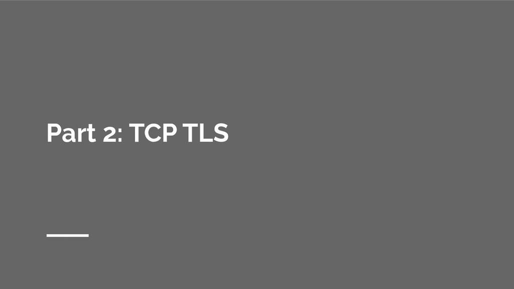 Part 2: TCP TLS