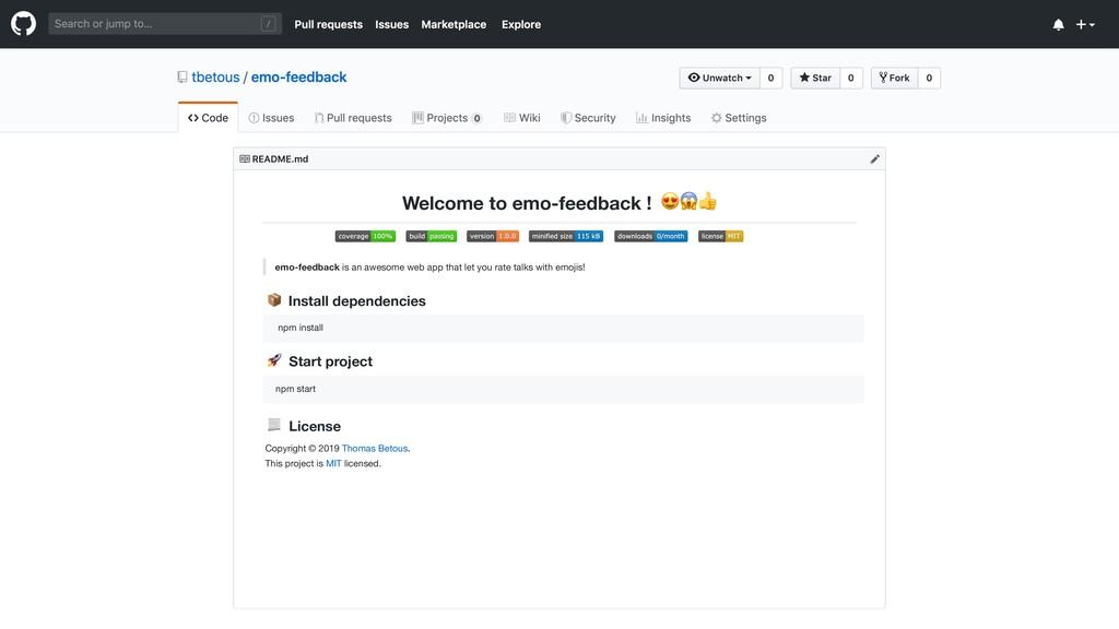 Install dependencies Start project emo-feedback...