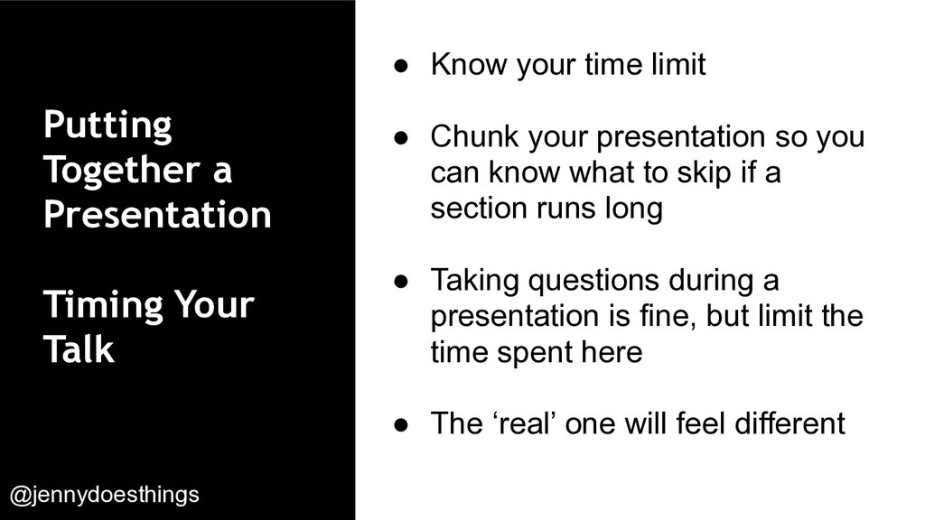 Putting Together a Presentation Timing Your Tal...
