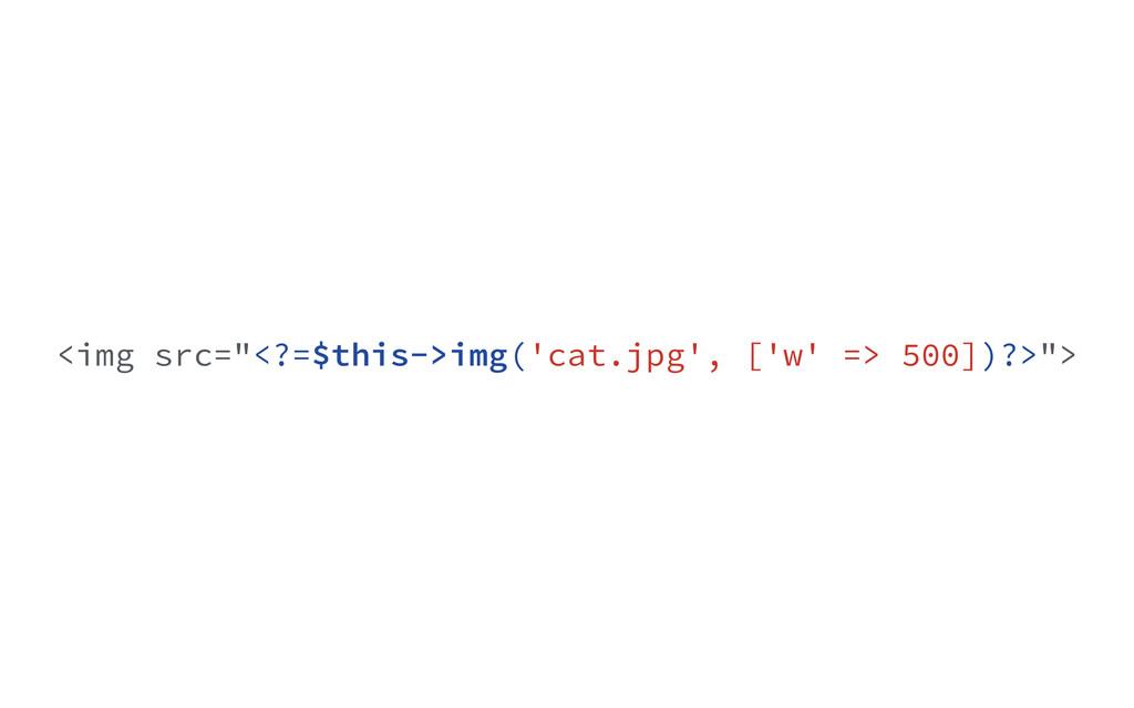 "<img src=""<?=$this->img('cat.jpg', ['w' => 500]..."