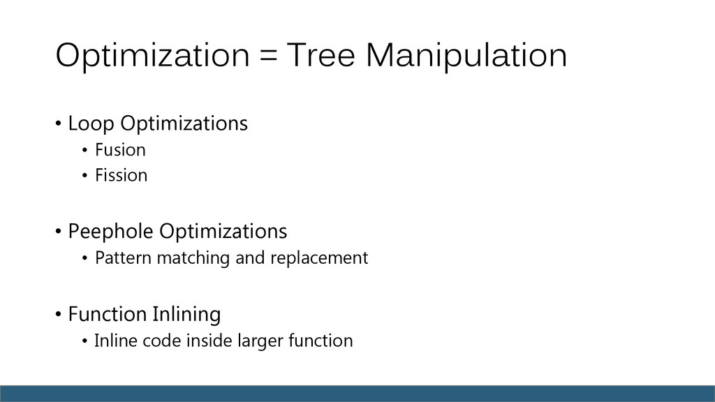 Optimization = Tree Manipulation • Loop Optimiz...