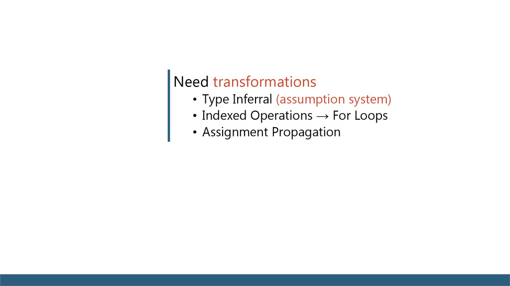 Need transformations • Type Inferral (assumptio...