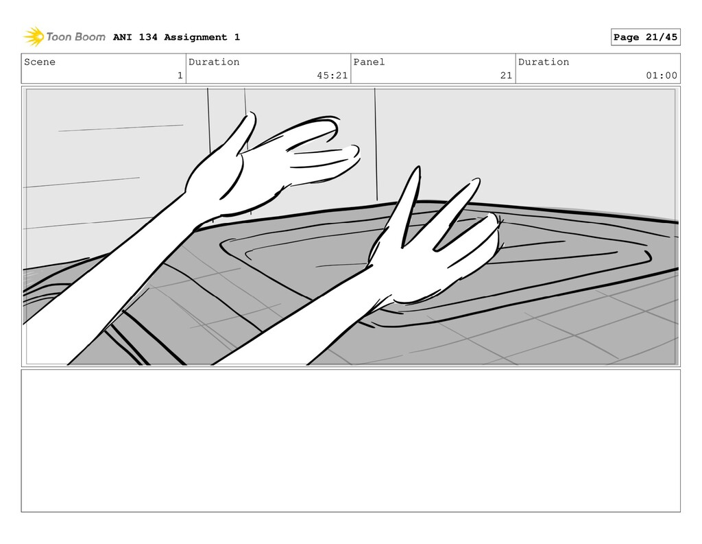 Scene 1 Duration 45:21 Panel 21 Duration 01:00 ...