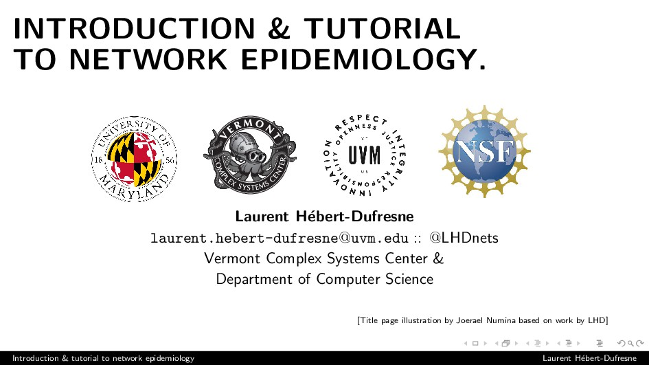 INTRODUCTION & TUTORIAL TO NETWORK EPIDEMIOLOGY...