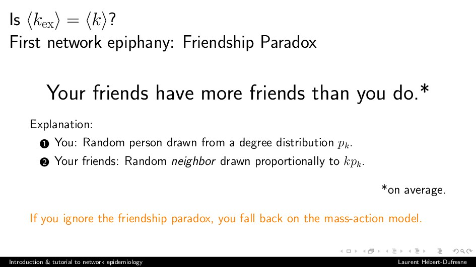 Is kex = k ? First network epiphany: Friendship...