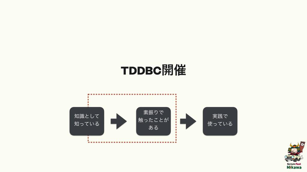ૉৼΓͰ ৮ͬͨ͜ͱ͕ ͋Δ ࣮ફͰ ͍ͬͯΔ ࣝͱͯ͠ ͍ͬͯΔ TDDBC։࠵