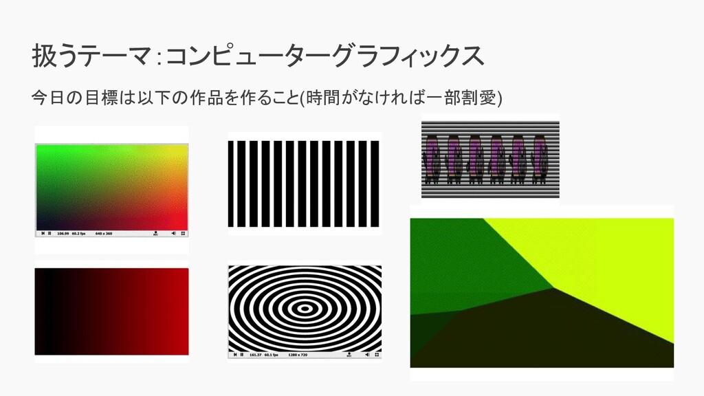 扱うテーマ:コンピューターグラフィックス 今日の目標は以下の作品を作ること(時間がなければ一部...