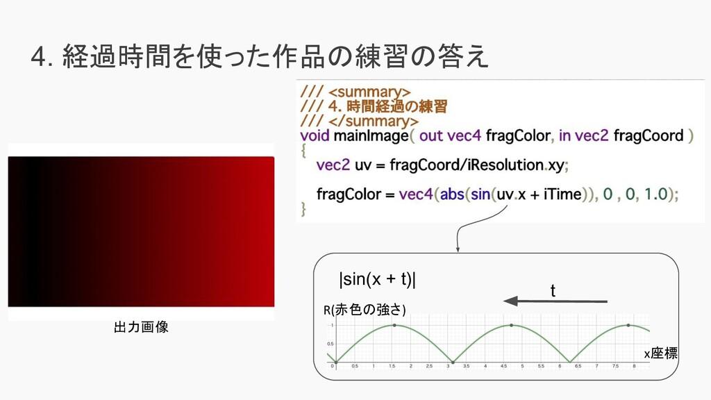 4. 経過時間を使った作品の練習の答え 出力画像  sin(x + t)  t R(赤色の強さ...