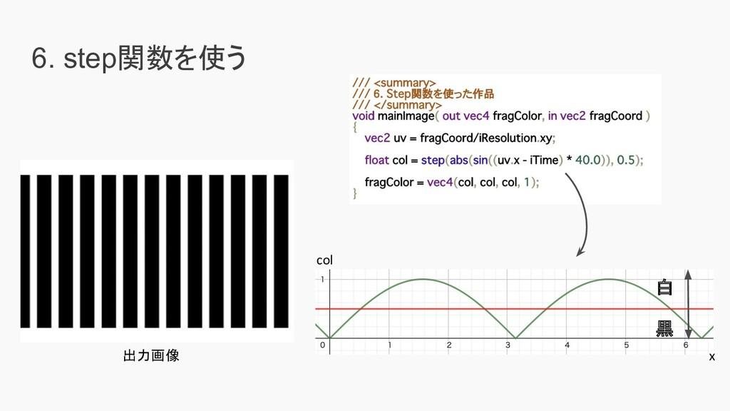 6. step関数を使う 出力画像 col x 白 黒