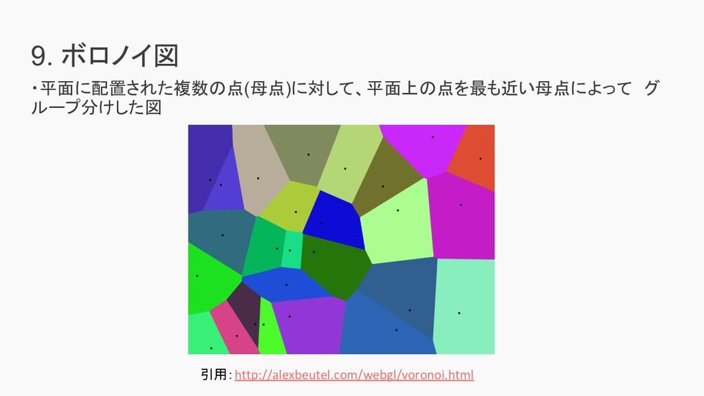 9. ボロノイ図 ・平面に配置された複数の点(母点)に対して、平面上の点を最も近い母点によって...