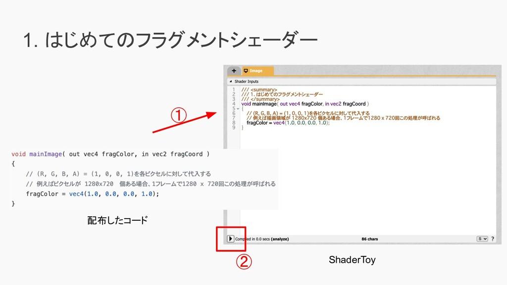 1. はじめてのフラグメントシェーダー ① 配布したコード ② ShaderToy