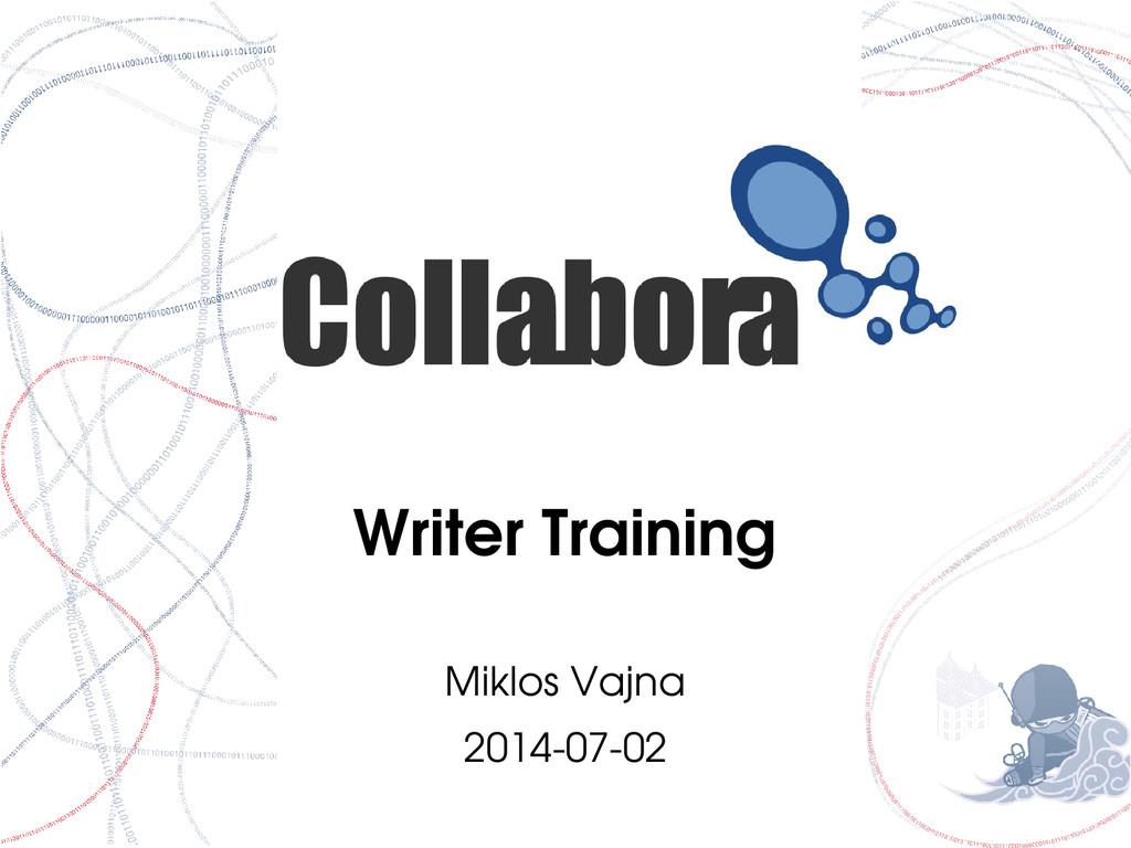 Writer Training Miklos Vajna 20140702