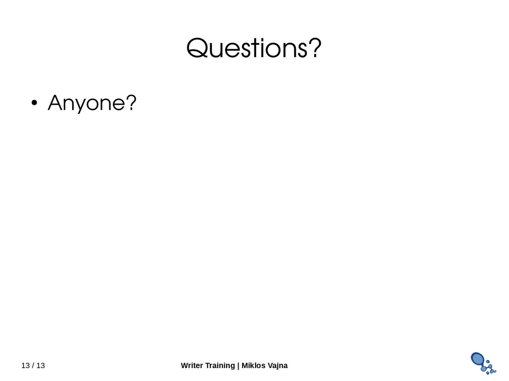 13 / 13 Writer Training   Miklos Vajna Question...