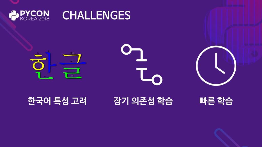 CHALLENGES 한국어 특성 고려 장기 의존성 학습 빠른 학습