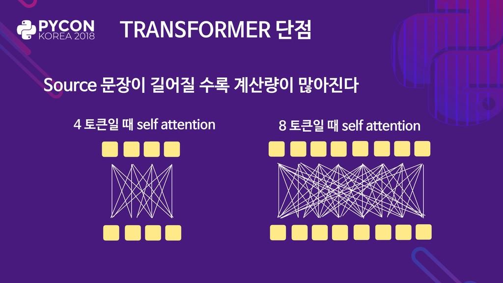 TRANSFORMER 단점 Source 문장이 길어질 수록 계산량이 많아진다 4 토큰...
