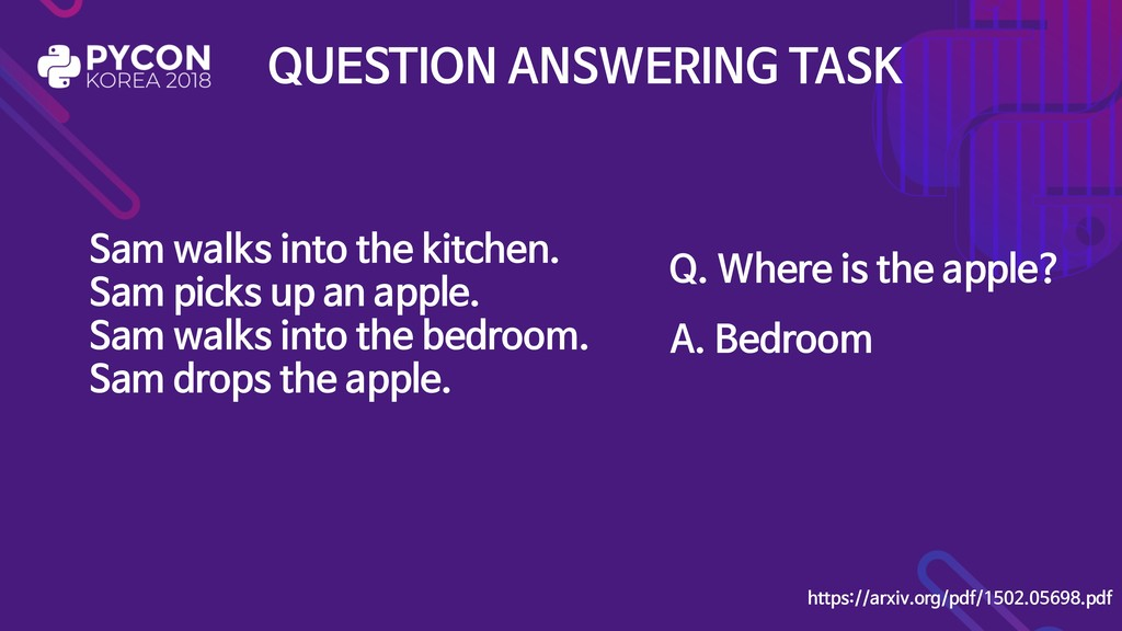 QUESTION ANSWERING TASK Sam walks into the kitc...