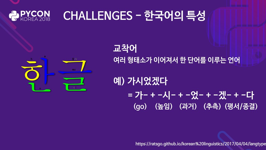예) 가시었겠다 = 가- + -시- + -었- + -겠- + -다 CHALLENGES...