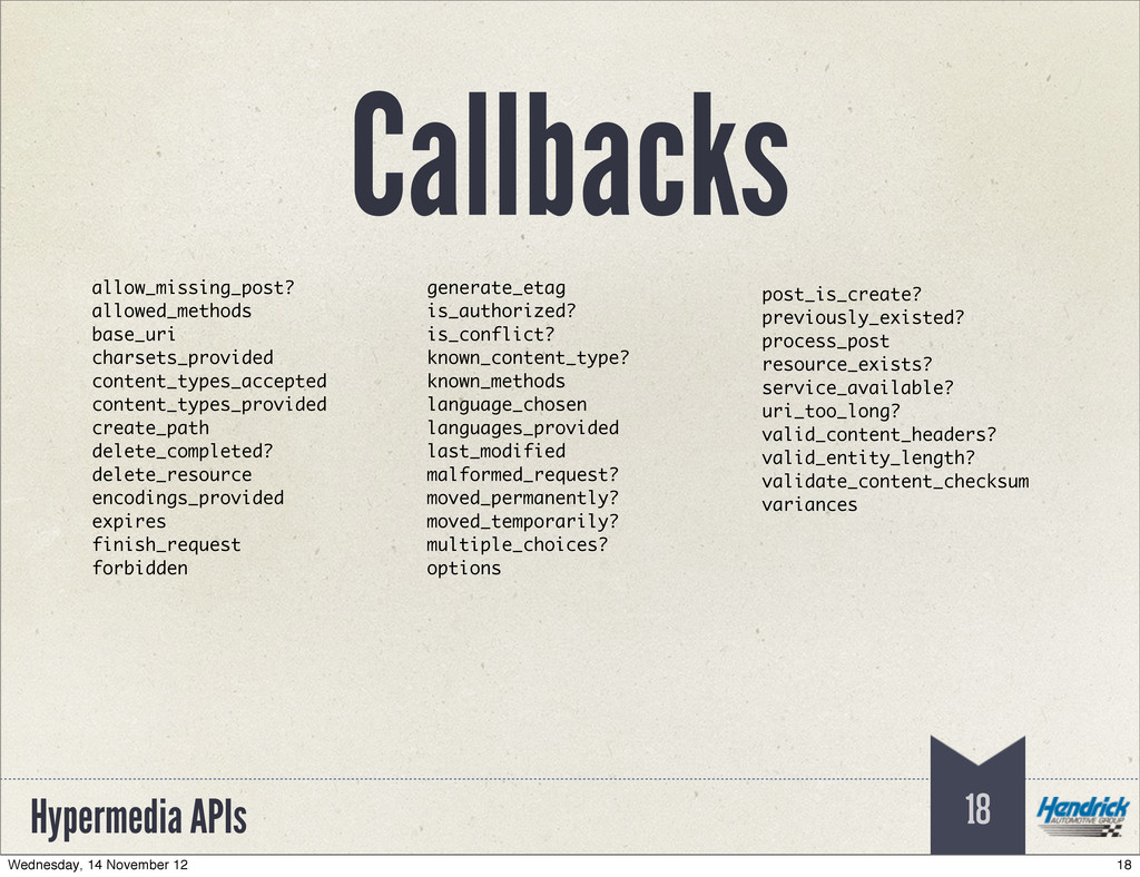Hypermedia APIs 18 allow_missing_post? allowed_...