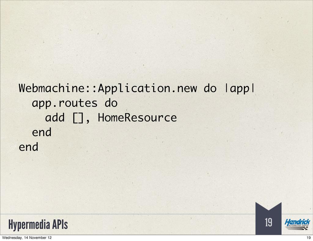Hypermedia APIs 19 Webmachine::Application.new ...