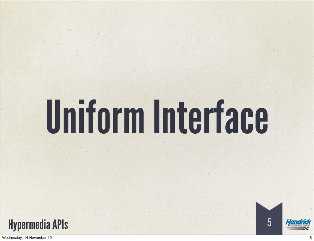 Hypermedia APIs 5 Uniform Interface 5 Wednesday...