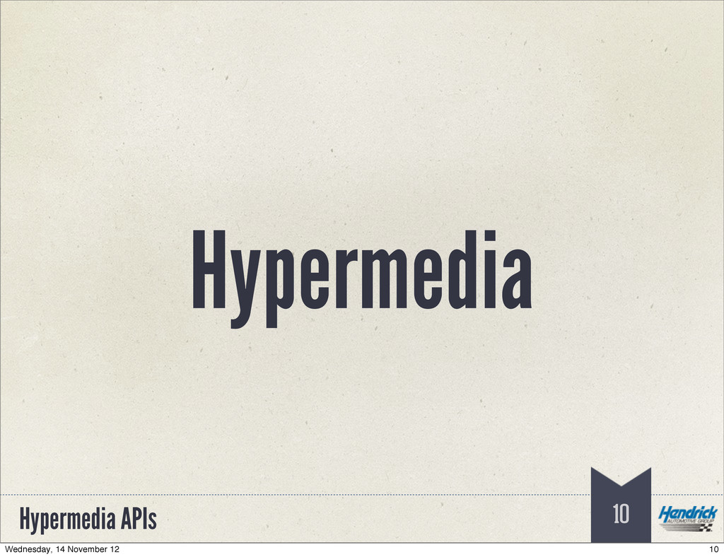 Hypermedia APIs Hypermedia 10 10 Wednesday, 14 ...