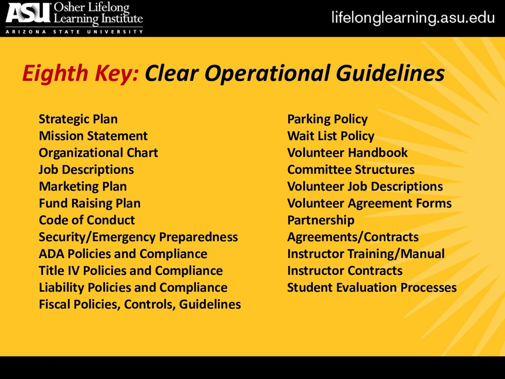 Eighth Key: Clear Operational Guidelines Strate...