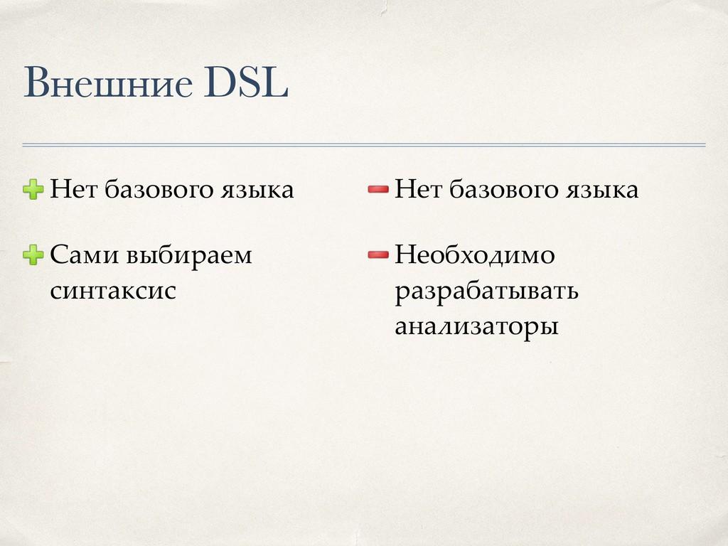 Внешние DSL Нет базового языка Сами выбираем си...