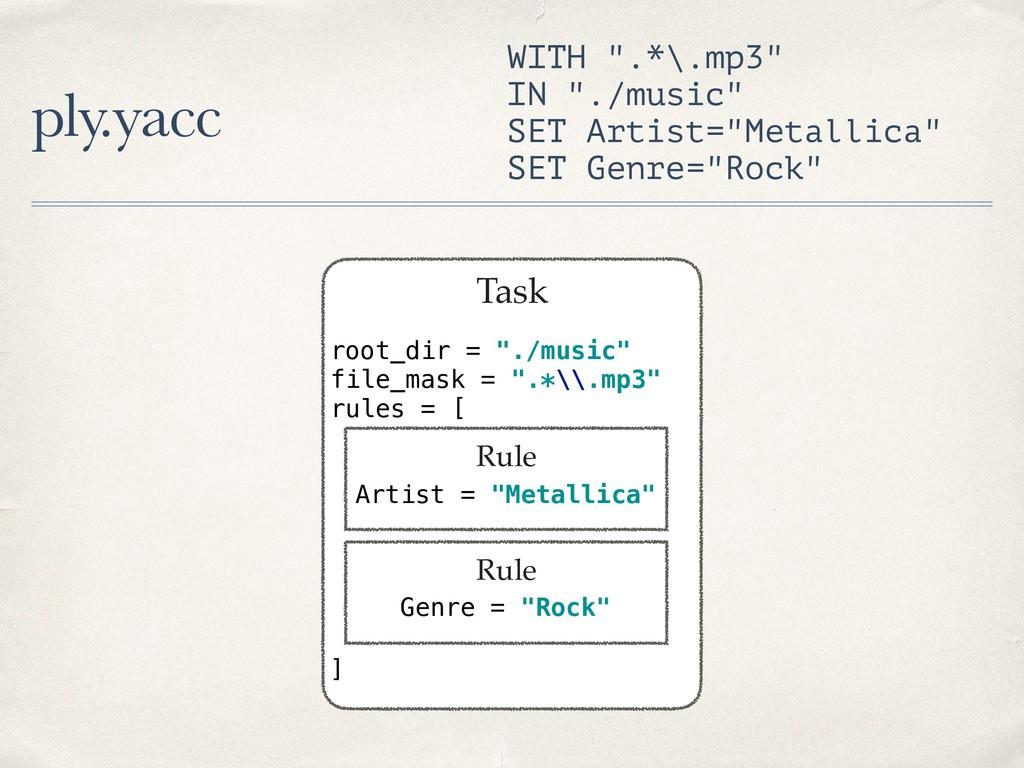 "ply.yacc Task root_dir = ""./music"" file_mask =..."