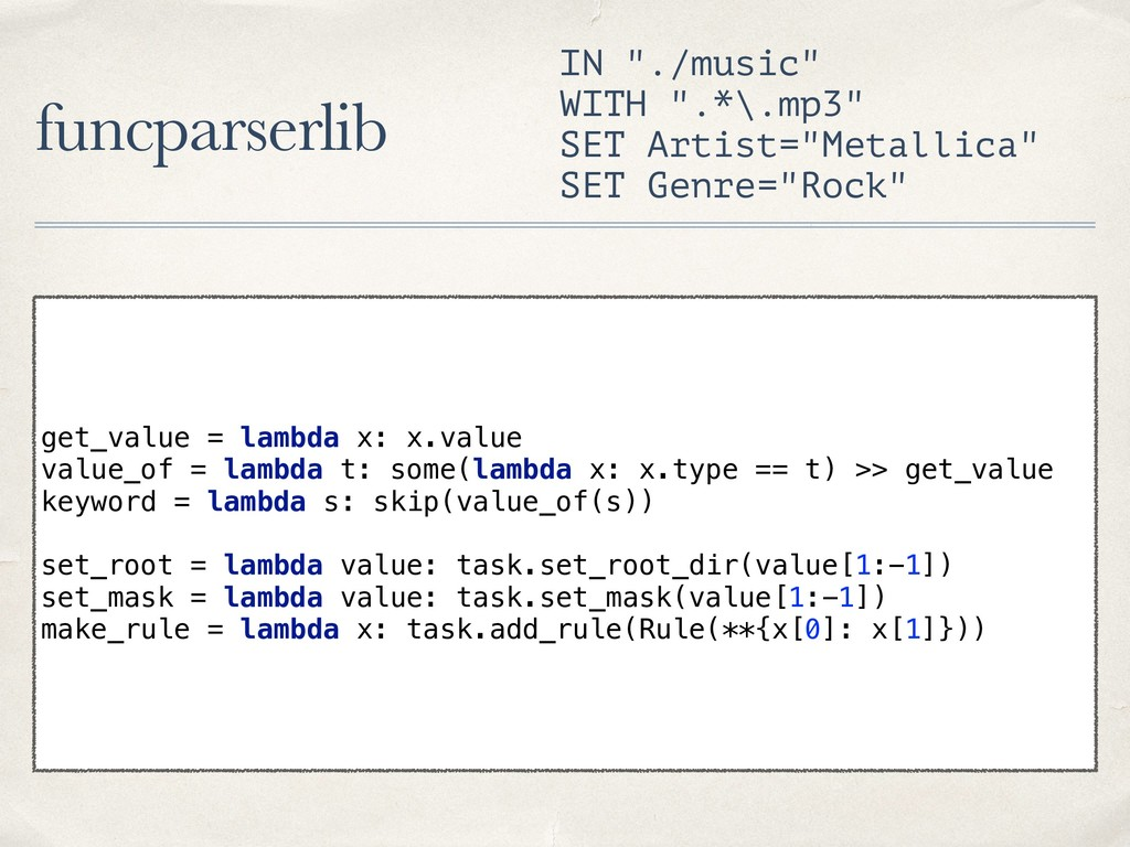 """funcparserlib IN """"./music"""" WITH """".*\.mp3"""" SET A..."""