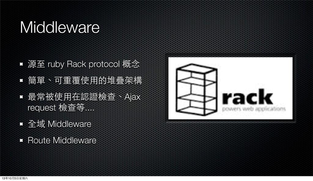 Middleware 源⾄至 ruby Rack protocol 概念 簡單、可重覆使⽤用的...