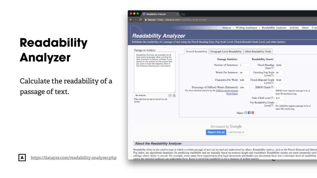 @radibit Readability Analyzer h ps://datayze.co...