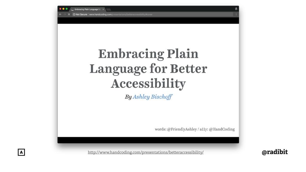 @radibit h p://www.handcoding.com/presentations...