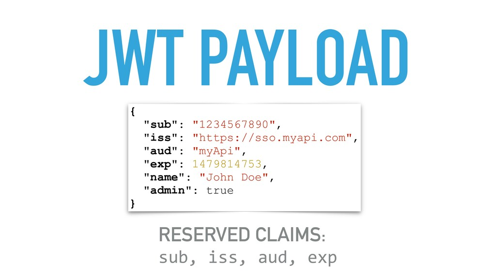 """JWT PAYLOAD { """"sub"""": """"1234567890"""", """"iss"""": """"http..."""