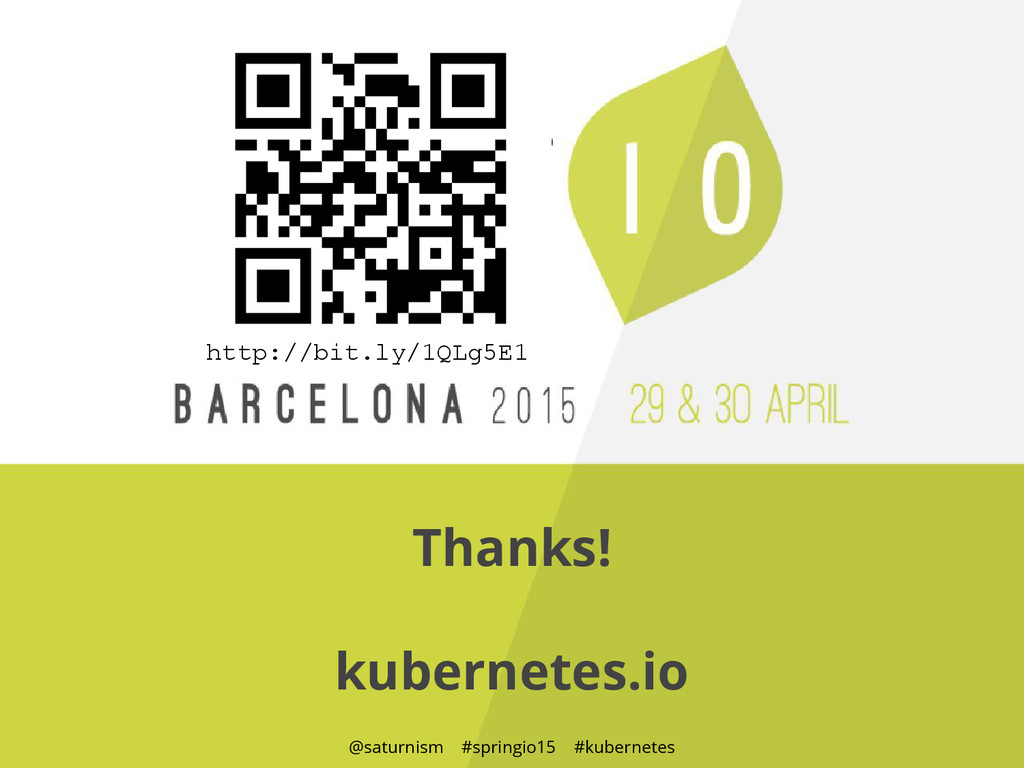 @saturnism #springio15 #kubernetes Thanks! kube...