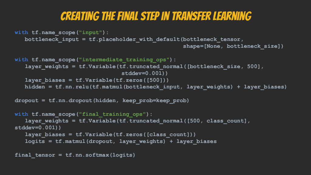 Creating the final step in transfer learning wi...