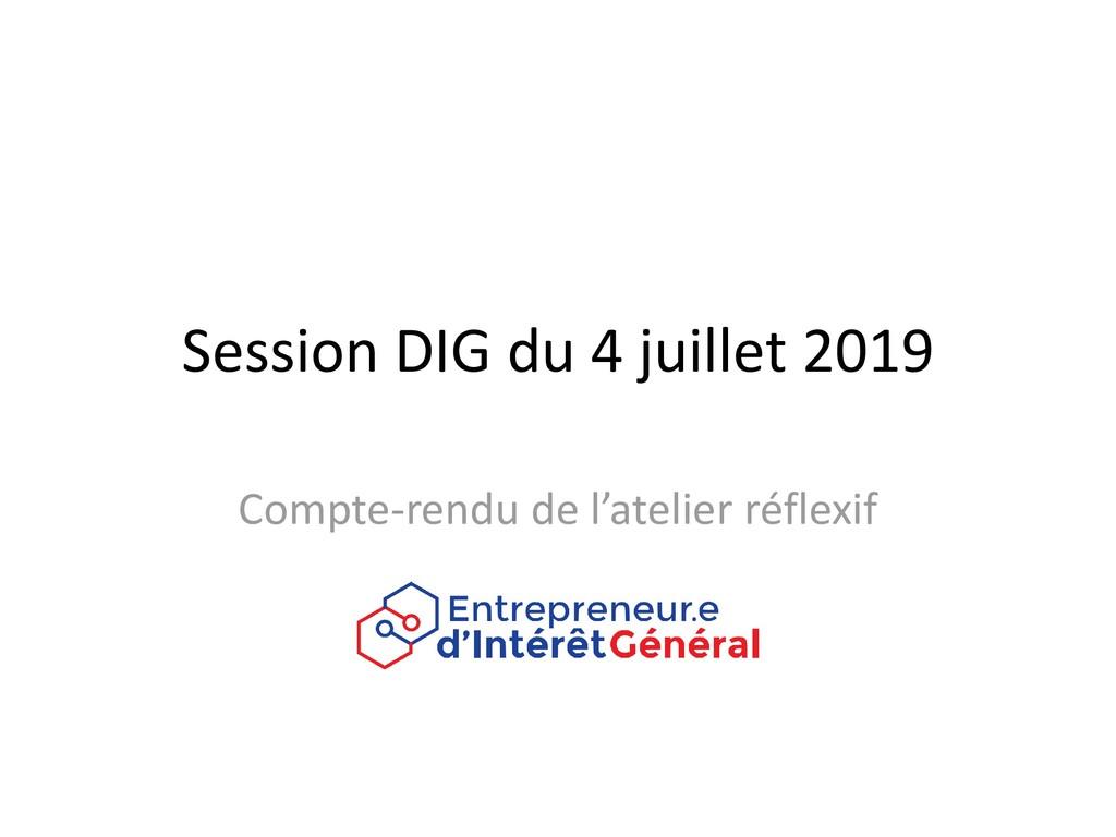 Session DIG du 4 juillet 2019 Compte-rendu de l...