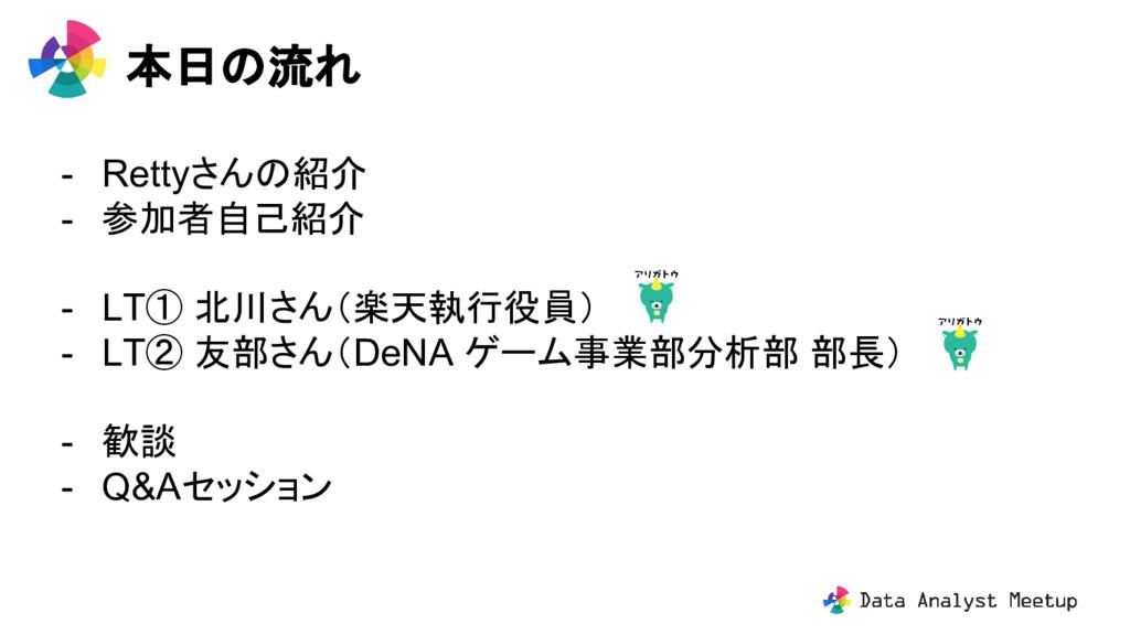 - Rettyさんの紹介 - 参加者自己紹介 - LT① 北川さん(楽天執行役員) - LT②...