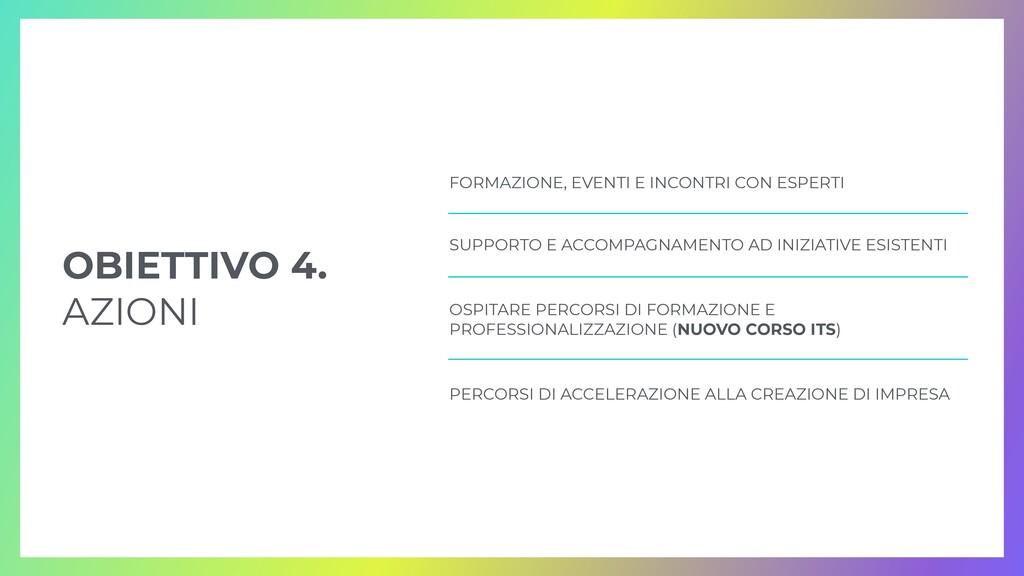 OBIETTIVO 4.   AZIONI FORMAZIONE, EVENTI E INCO...