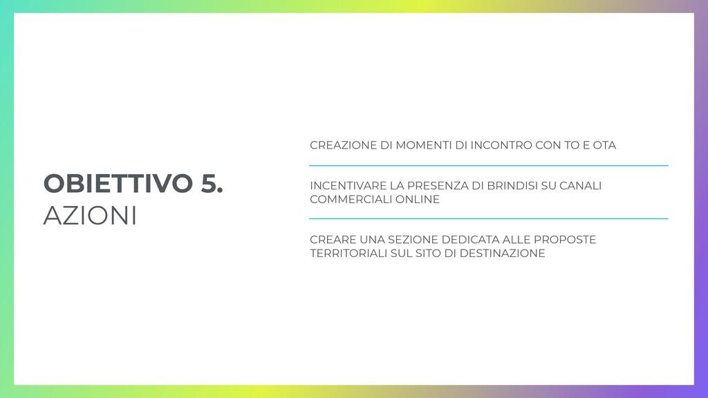 OBIETTIVO 5.   AZIONI CREAZIONE DI MOMENTI DI I...