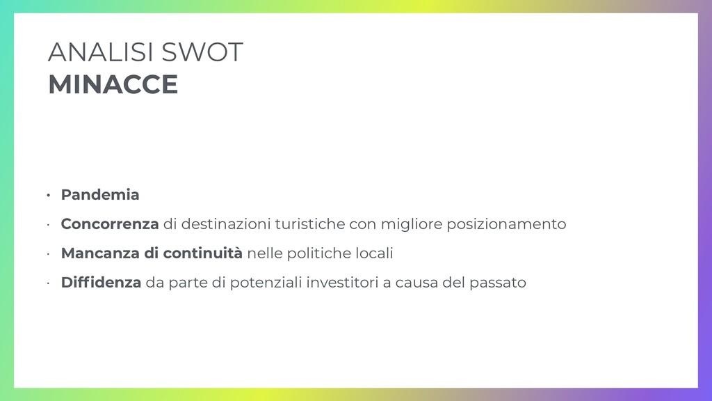 • Pandemia   • Concorrenza di destinazioni turi...