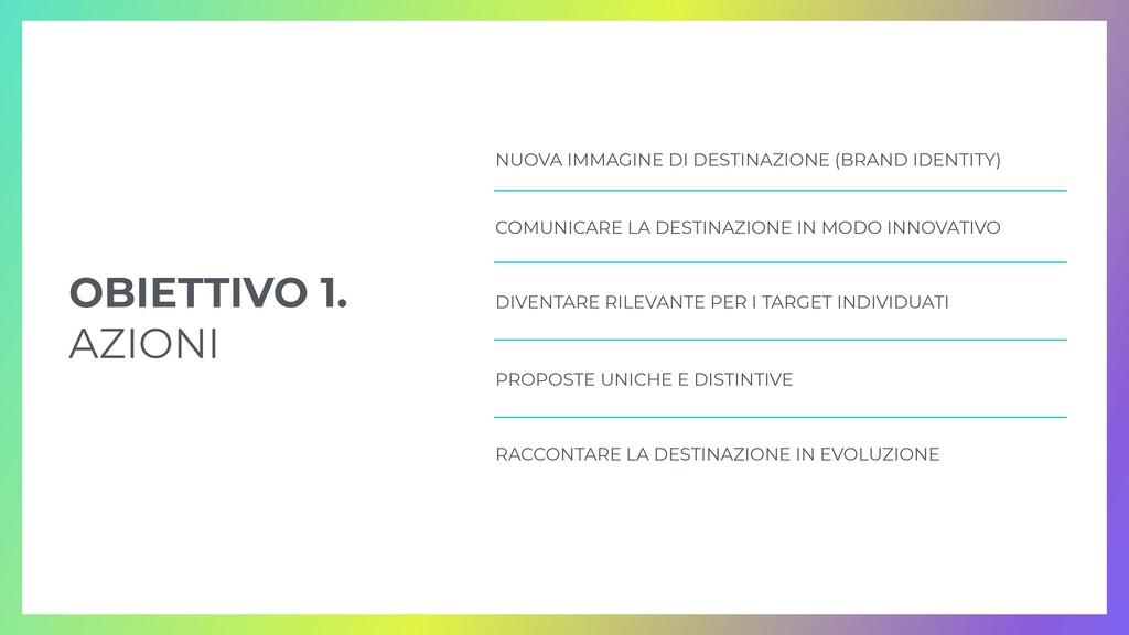 OBIETTIVO 1.   AZIONI COMUNICARE LA DESTINAZION...