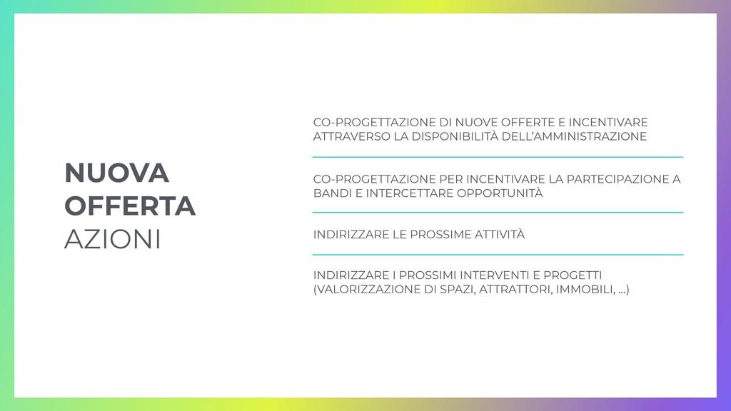 CO-PROGETTAZIONE DI NUOVE OFFERTE E INCENTIVARE...