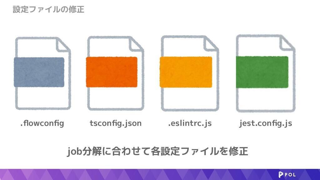 設定ファイルの修正 job分解に合わせて各設定ファイルを修正 .eslintrc.js tsc...