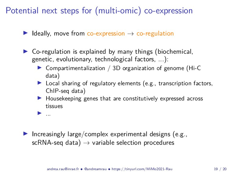 Potential next steps for (multi-omic) co-expres...