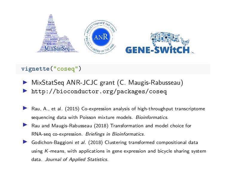 """vignette(""""coseq"""") MixStatSeq ANR-JCJC grant (C...."""