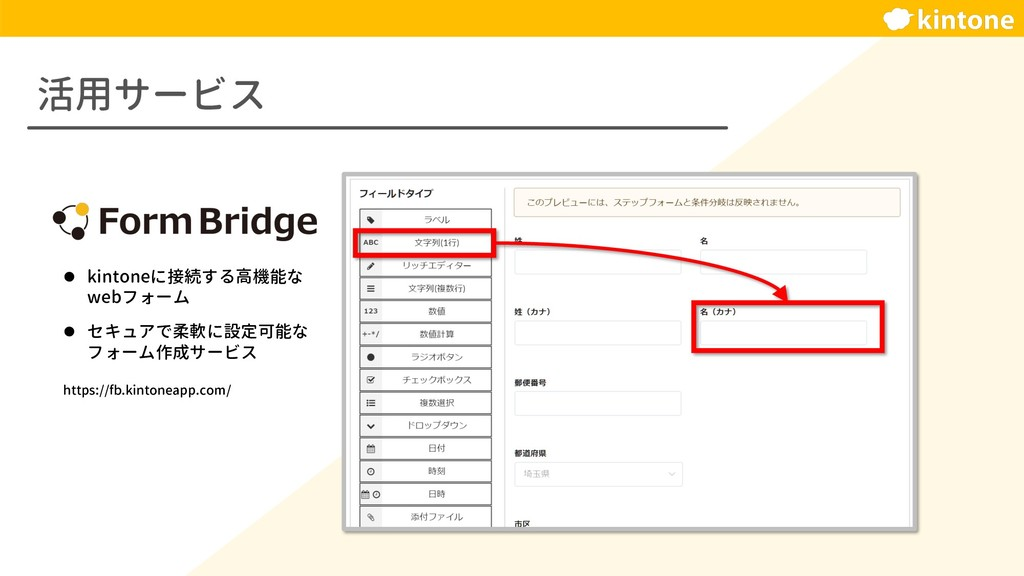活用サービス l kintoneに接続する高機能な webフォーム l セキュアで柔軟に設定可...