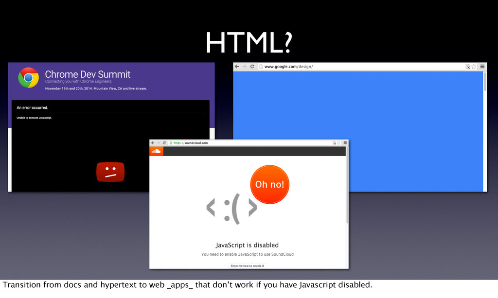 HTML? Transition from docs and hypertext to web...