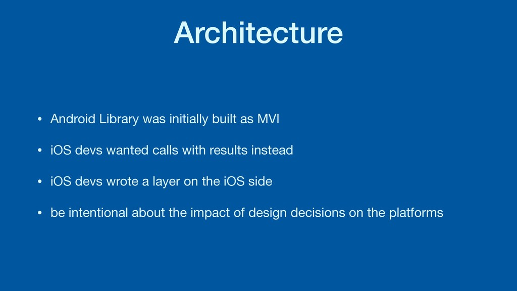 Architecture • Android Library was initially bu...