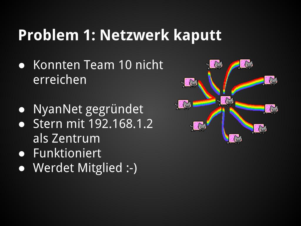 Problem 1: Netzwerk kaputt ● Konnten Team 10 ni...